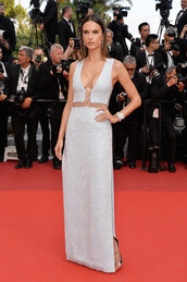 dress,silver,gown,cannes,prom dress,alessandra ambrosio,model off-duty,red carpet dress,plunge dress,shoes