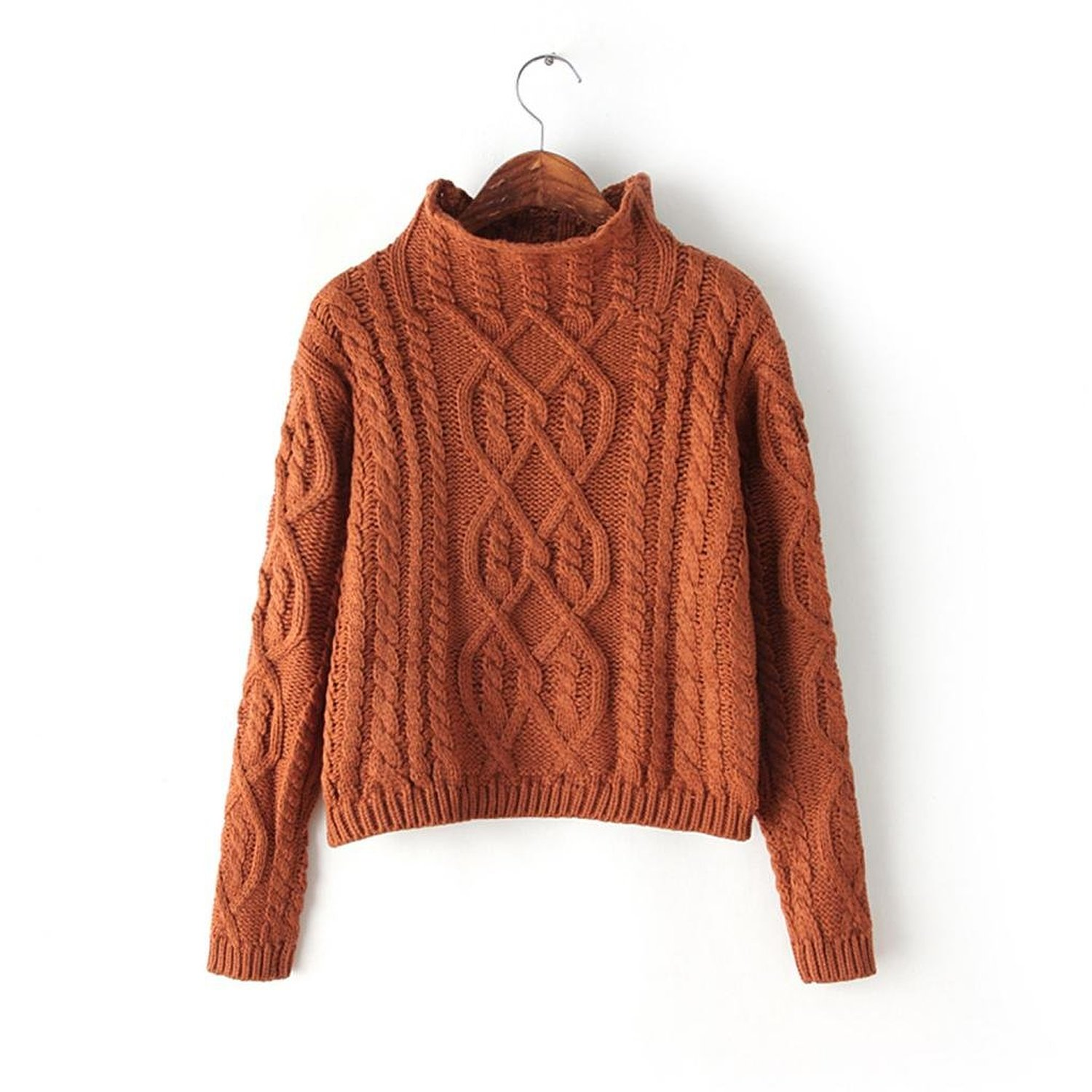 Omine Women's Cable Knit Mock Neck Crop Top Sweater Jumper ...