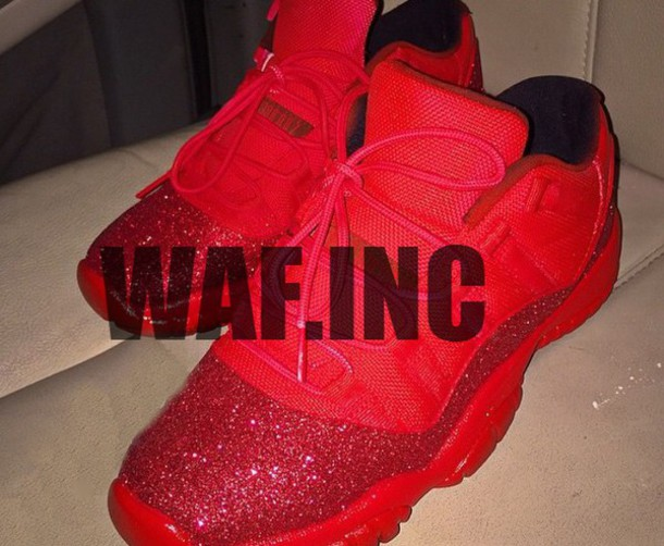 Shoes Red Glitter Jordans Custom