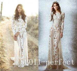 Long sleeved lace vintage wedding dresses