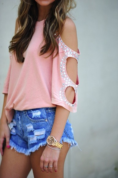 top pink holes pink top pink top    tank top diamonds studs studded top blouse shorts shirt glitter sparkles peach loose cute silver diamontes