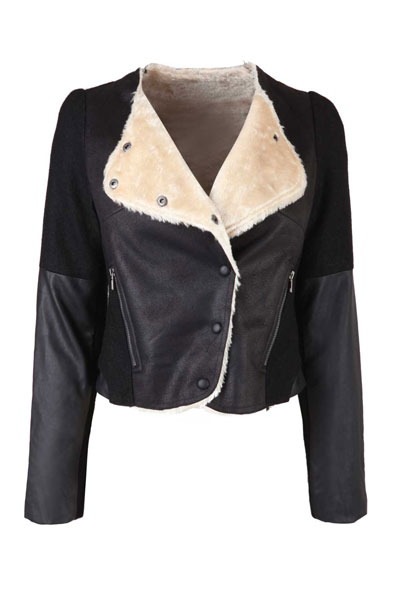 Black Fur Lined Cropped Jacket at Fashion Union