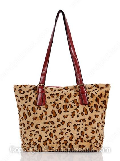 Red Leopard Print PU Leather Shoulder Bag - HandpickLook.com