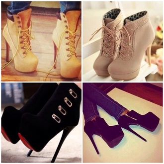 black boots platform shoes boots high heels black heels style classy hot timberlands heels timberlands diamonds streetwear streetstyle winter outfits winter boots