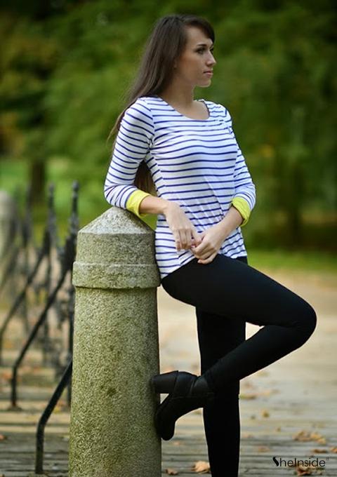 Blue Long Sleeve Striped Dipped Hem T-Shirt - Sheinside.com