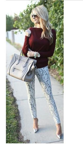 crochet lace top blouse burgundy long sleeves skinny pants