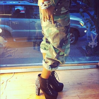 jeans camouflage studded shoes studded army green