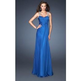 Coral Long Sparkly Straps La Femme 18280 Prom Dresses  - 7prom.com