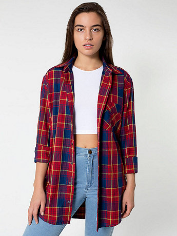 Unisex Indigo Plaid Cotton Twill Long Sleeve Button-Up with Pocket | American Apparel