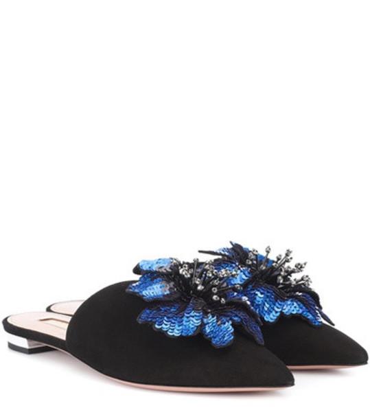 Aquazzura Disco Flower suede slippers in black