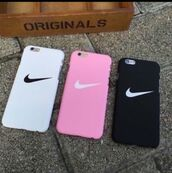 phone cover,nike,pink,white,black,cover,iphone