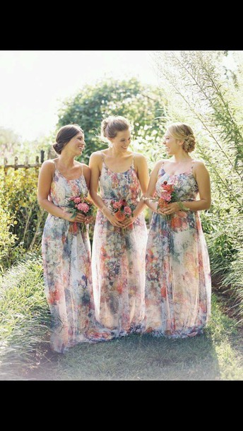 dress maxi dress floral dress chiffon dress bridesmaid friends floral maxi dress
