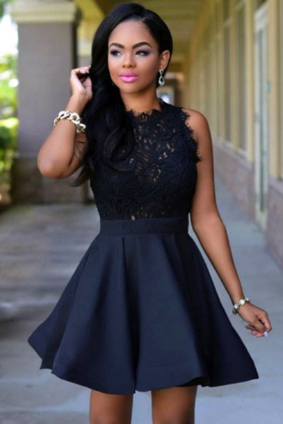 Dress Lace Dress Black Lace Dress Black Lace Sheer Lace Skater