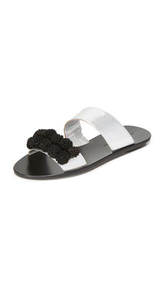 sandals silver black shoes