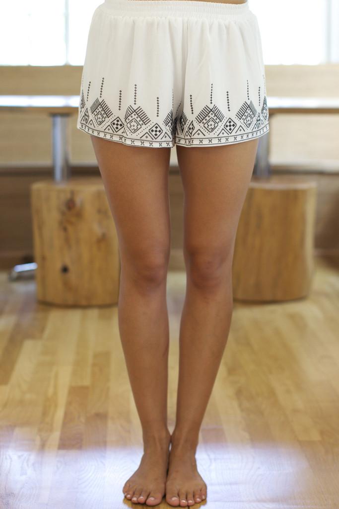 Aztec Princess Shorts- White | Obsezz