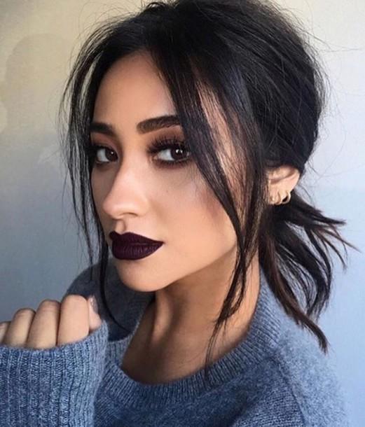 Make Up Dark Lipstick Shay Mitchell Celebrity Face Makeup Fake