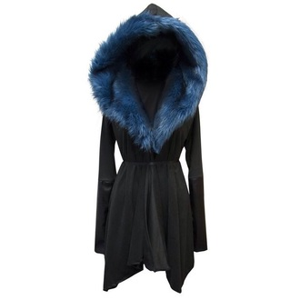coat prussian blue fur winter outfits hood black collar