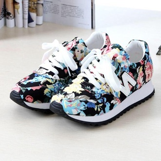 shoes floral flowers floral shos sneakers floral sneakers white pink new balance tennis shoes girly shoes hair accessory