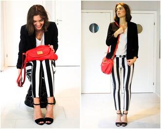 pants black white romwe romwe pants strip stripes black-white
