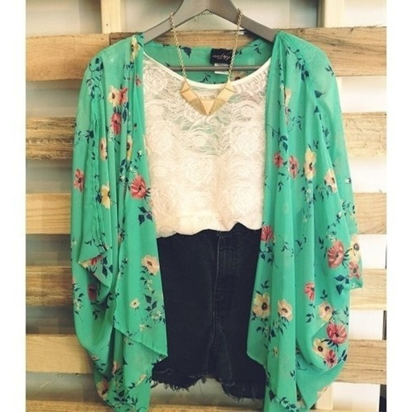 floral kimono lace top black shorts ripped shorts coat hipster jacket blouse flowers colorful green floral spring shorts cute kimono boho chic style outfit fashion tumblr outfit top crop tops cute top white lace top shirt cardigan white lace top gold necklace