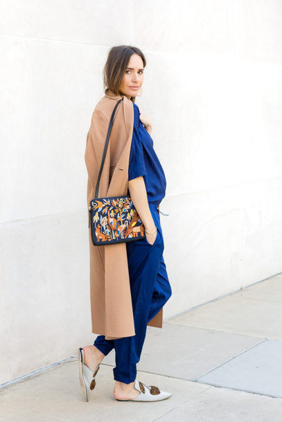louise roe blogger jumpsuit coat bag jewels shoes fall outfits shoulder bag blue jumpsuit loafers beige coat