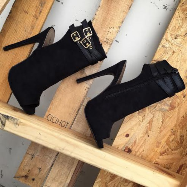 1c15a677eb77b Black Faux Suede Peep Toe Ankle Booties @ Cicihot Heel Shoes online ...