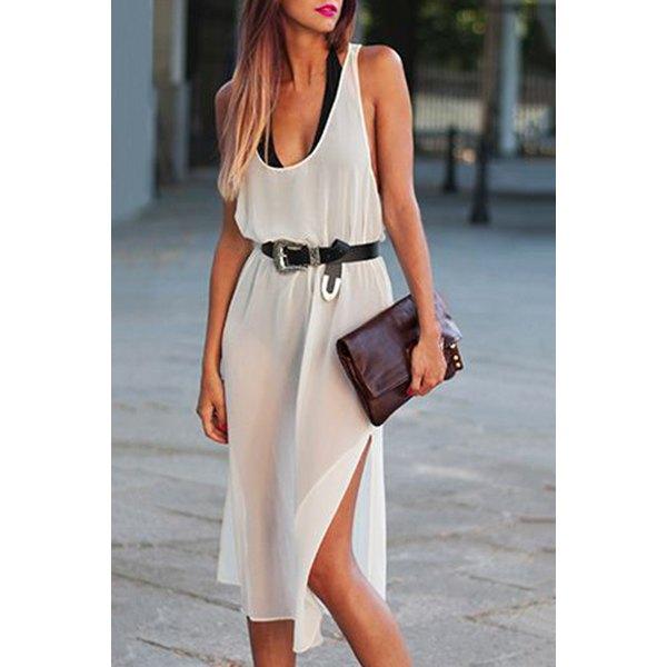 Sexy Sleeveless U Neck High Slit Backless See-Through White Dress For Women
