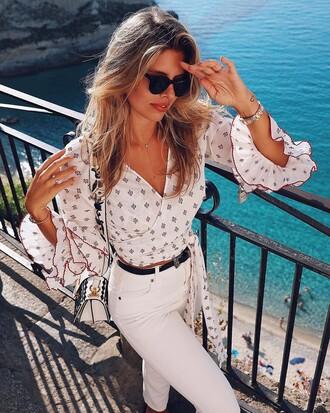 blouse tumblr white blouse wrap top v neck long sleeves denim jeans white jeans sunglasses