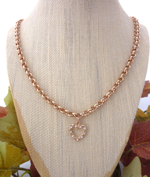 b7ac72fe0a Chunky Chain and Swarovski crystal heart charm necklace, Rose Gold plated,  long chain great for layering ...