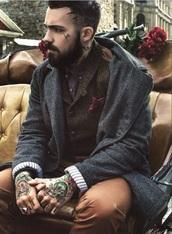 top,wool,retro,mod,hipster menswear,menswear,mens jacket,mens blazer,mens coat,tattoo,jacket,grey jacket,brown waistcoat,tweed