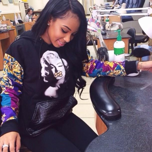 sweater marilyn monroe leather crocodile versace print hoodie sweatshirt