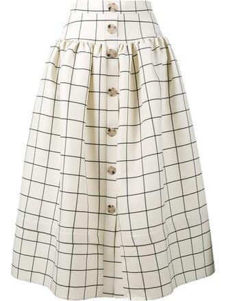 skirt women nude print silk wool grid