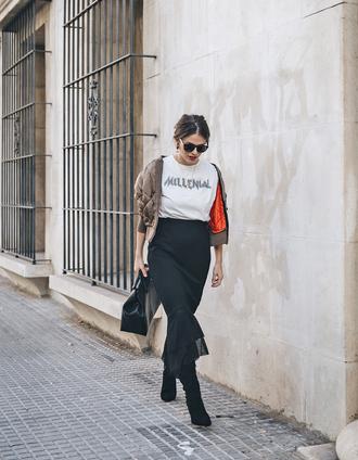 swimwear tumblr white t-shirt skirt midi skirt black skirt boots black boots sunglasses black sunglasses bag black bag jacket khaki army green jacket