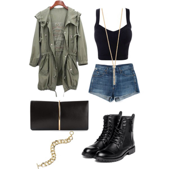jacket clothes shorts boots crop tops necklace purse shoes tank top.  crop top army green jacket leather boots t-shirt bracelets forever 21 brandy melville denim shorts oversized jacket bustier bustier crop top jewelry high waisted shorts black boots handbag clutch