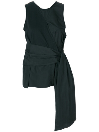 blouse women tie front cotton black top