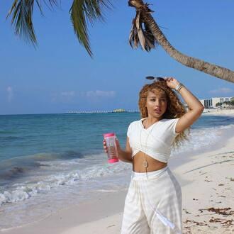 top jadah doll celebrity crop tops white crop tops pants white pants summer outfits sunglasses beach look