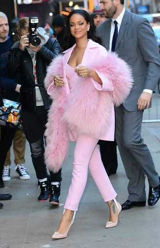 pants stirrup pants all pink everything all pink wishlist pink pants pumps pointed toe pumps high heel pumps pink heels pink blazer blazer fur scarf scarf top pink top rihanna celebrity style celebrity tumblr