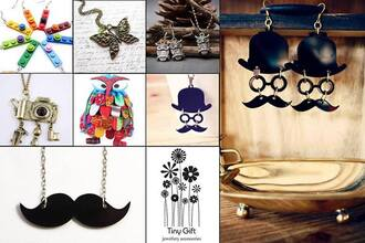 jewels black earrings silver earing necklace moustache