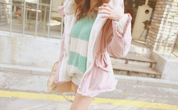 pink light pink cute white coat jacket pretty coat fleece parka coat ulzzang ulzzang fashion kawaii womens coat kfashion kpop korean fashion china korean japanese
