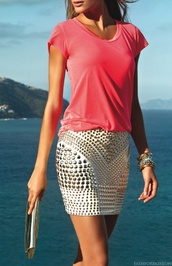 skirt,studded,mini skirt,shirt,white,gold