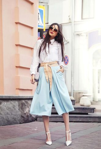 pants nude belt blue pants palazzo pants belt shirt white shirt sandals white sandals spring outfits sunglasses office outfits