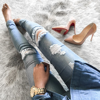 jeans tumblr blue jeans ripped jeans light blue jeans denim pumps high heels nude shoes pointed toe pumps high heel pumps louboutin watch