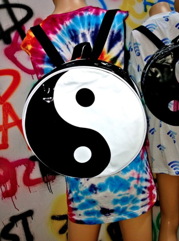 bag yingyang bag yin yang backpack black and white