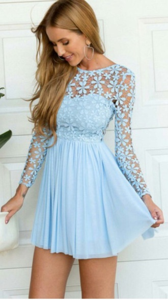 dress blue blue dress lace homecoming sky blue baby blue pretty flowers crochet light blue dress light blue short long sleeves long sleeves white dress floral lace dress party dress floral dress skater dress