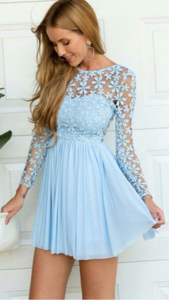 dress blue homecoming sky blue baby blue pretty lace flowers crochet light  blue dress light blue d0ceafdcb