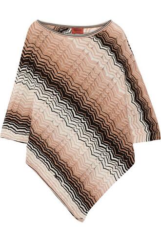 poncho knit metallic crochet blush top