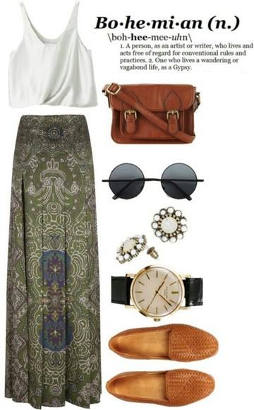 maxi skirt skirt bag sunglasses forest green boho hippie green maxi skirt t-shirt