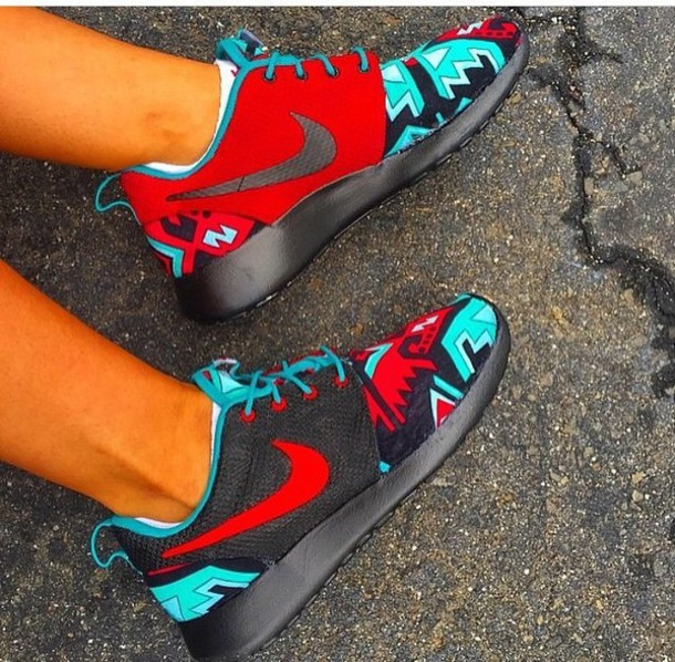 shoes tribal pattern red blue nike shoes nike roshe run aztec aztec print shoes roshe runs rosches