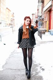 le happy,blogger,rust,winter sweater,polka dots,mini skirt,platform shoes,grunge shoes,sweater,skirt,jacket,top,shoes,shirt