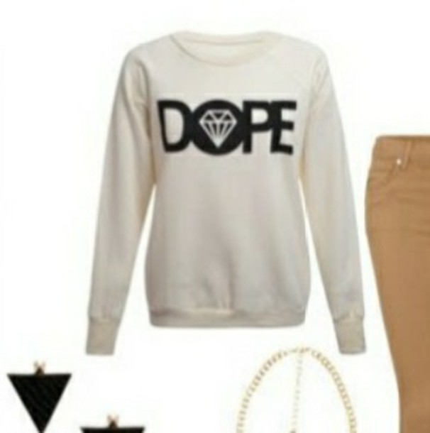 top sweater pullover dope white shirt